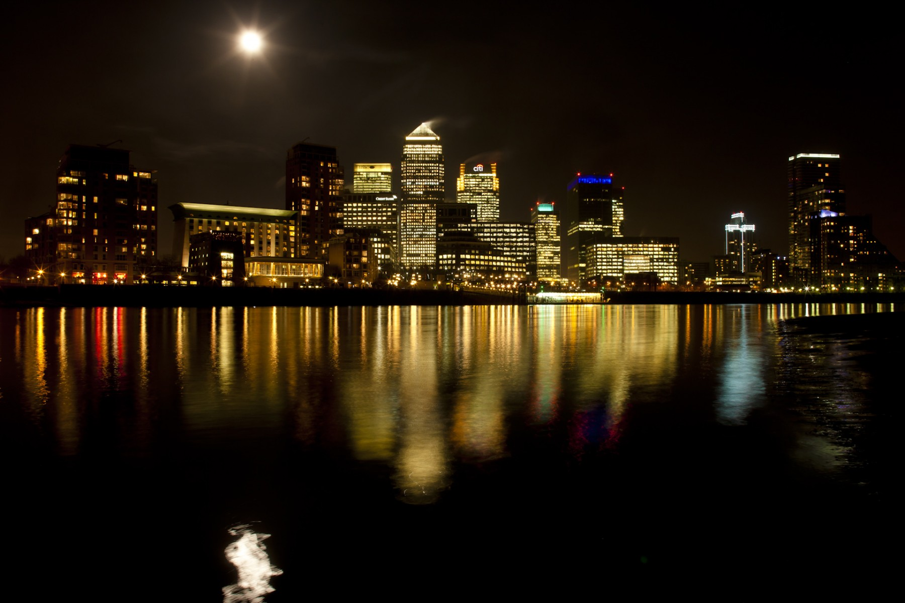 Full Moon Over Canary Wharf