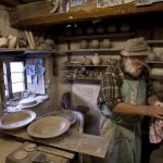 John Leach in his Muchelney Pottery studio
