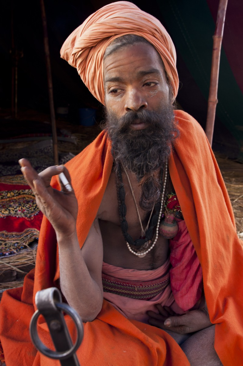 Naga Baba outside his tent, Kumbh Mela, Allahabad