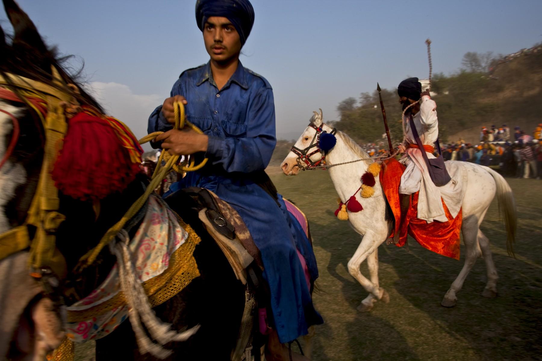 Nihangs on horseback at Hola
