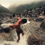 Bathing in Mountain River, Nanda Devi Raj Jat, Garwhal Himalayas