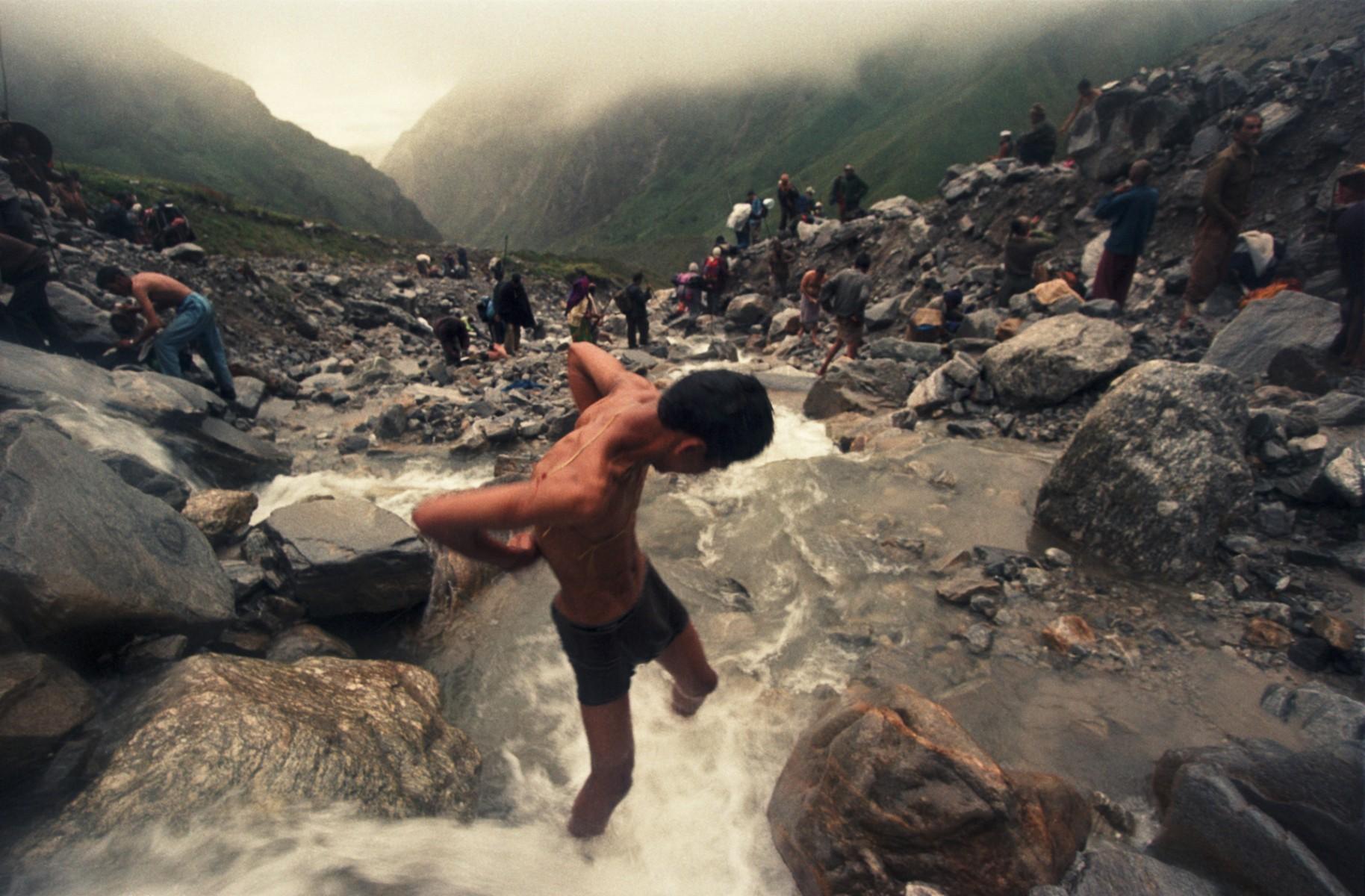 Bathing in Mountain River, Nanda Devi Raj Jat, Garwhal Himalayas