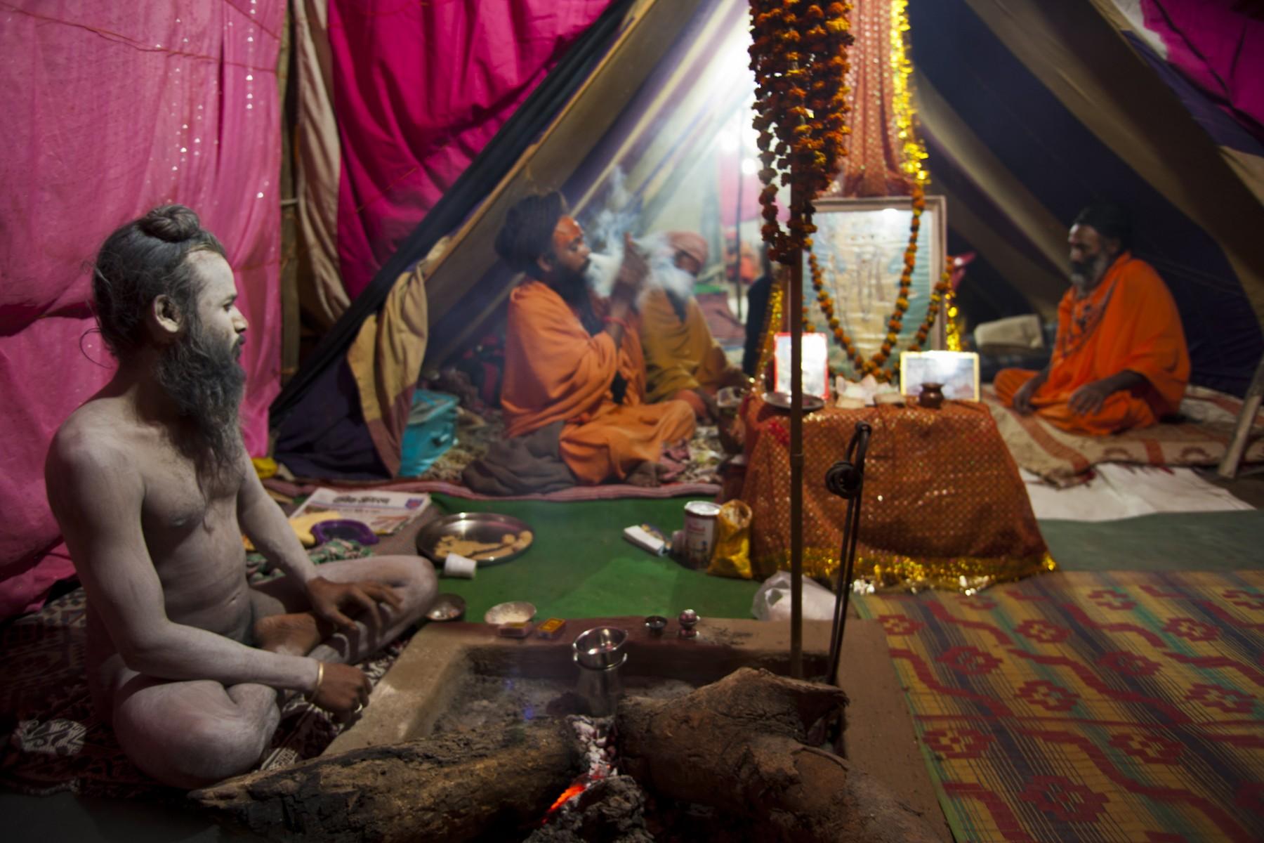 Brightly Coloured Tent, Kumbh Mela, Hardwar