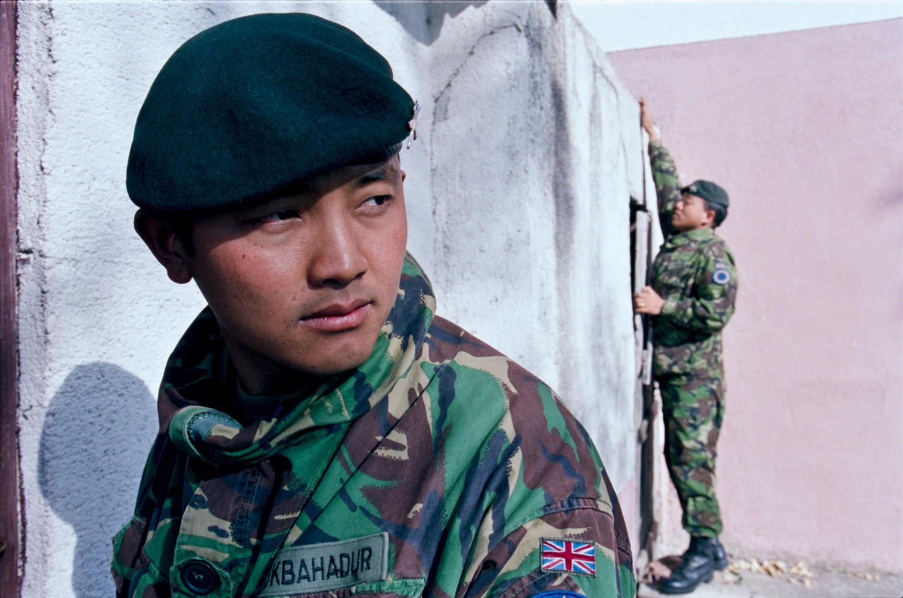 Gurkhas search a building, Bosnia