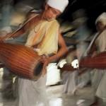 Drummers in temple, Majuli