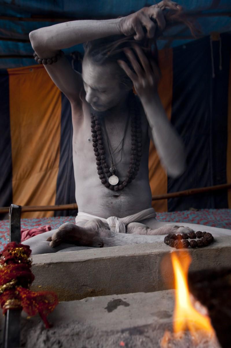 Seated Naga Baba, Kumbh Mela Hardwar
