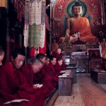 Bhuddist monks in temple