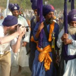 "Photographing as Nihangs leave the mela ground at the end of Hola Mohalla in Anandpur Sahib, Punjab (<a href=""http://dalbirsindia.wordpress.com"" target=""_blank"">Photo by Dalbir Singh</a>)"