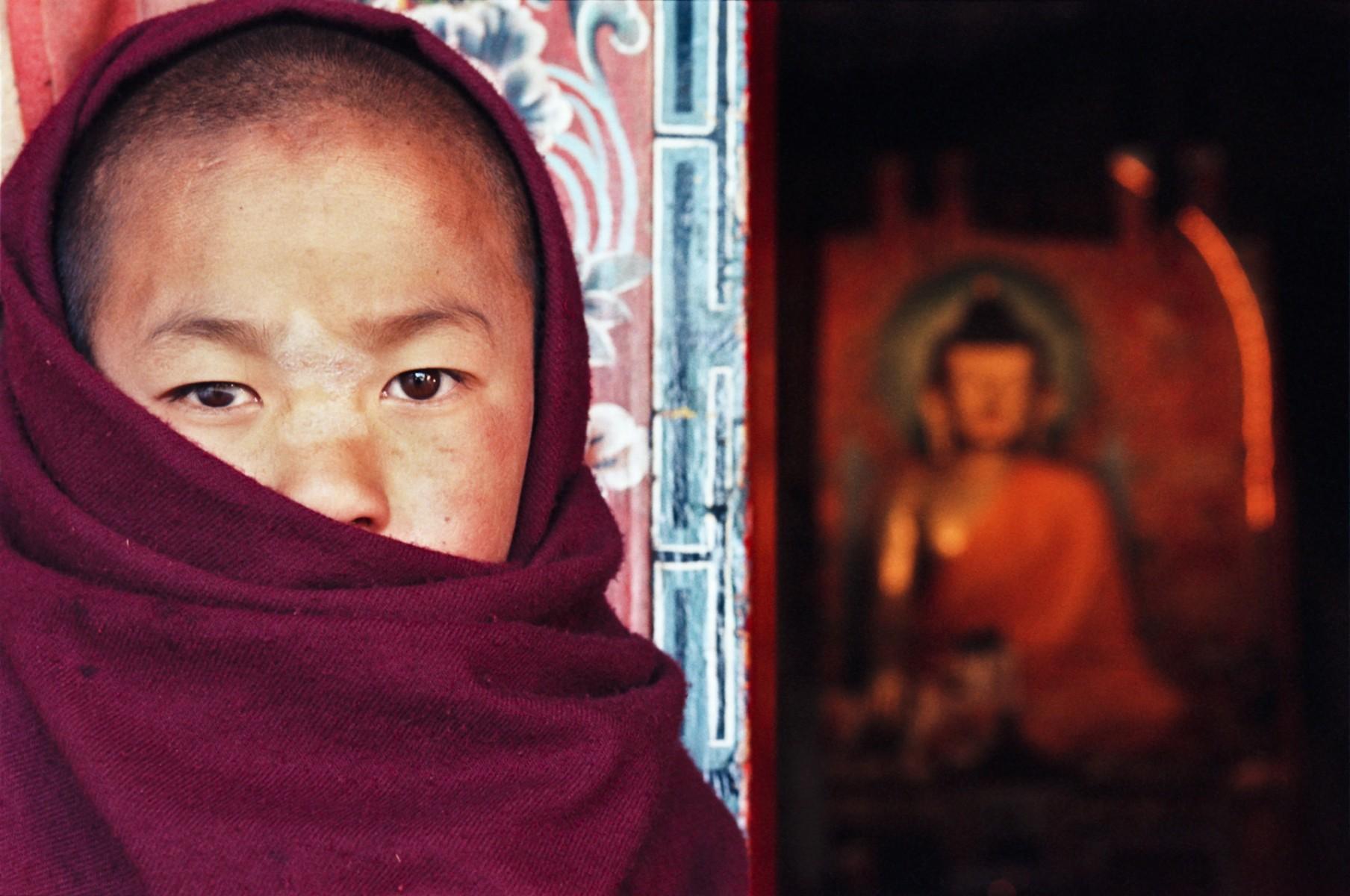 Young monk at entrance to Tawang Monestry