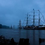 Tall ship Pelican and the three masted barque Belem at first light on the morning of the Diamond Jubilee Thames Pageant