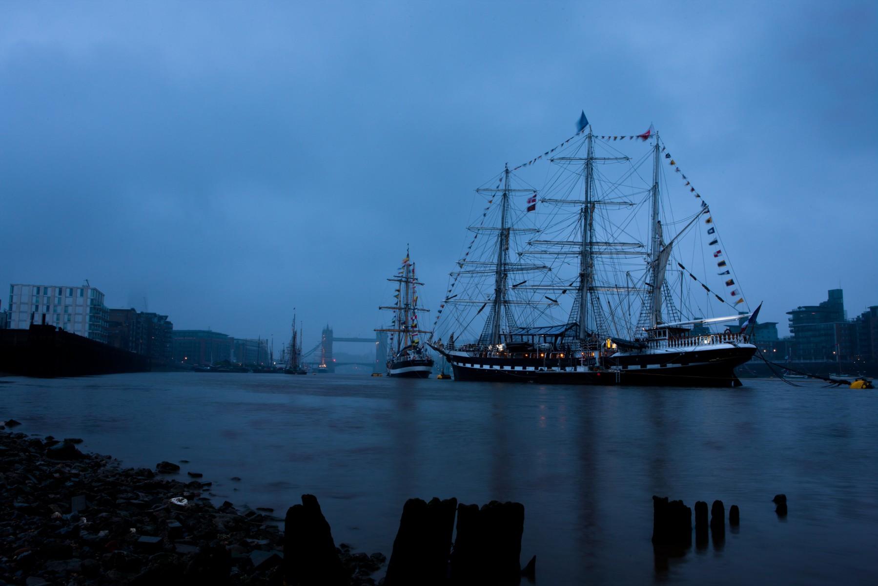 Pelican and Belem moored just west of Tower Bridge