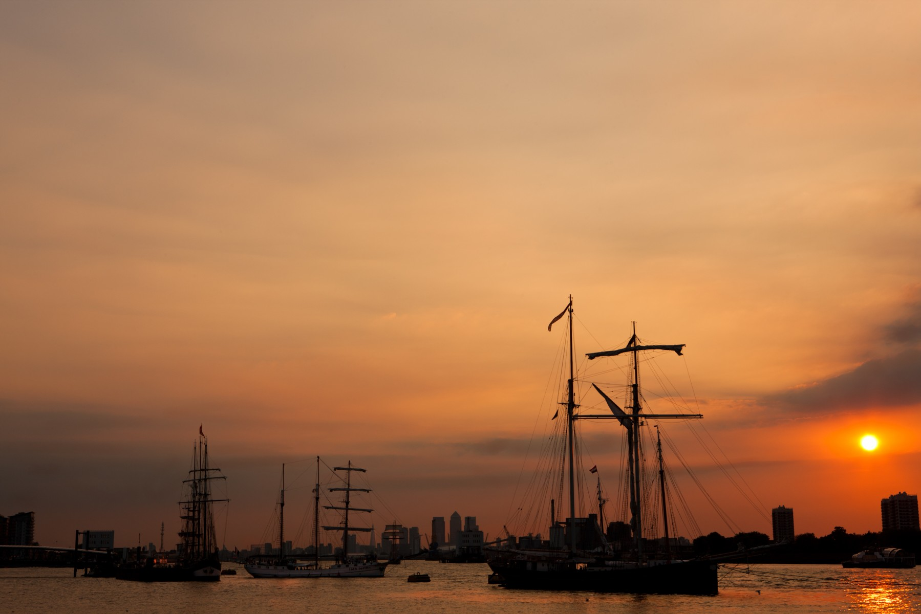 Tall ships moored at Woolwich