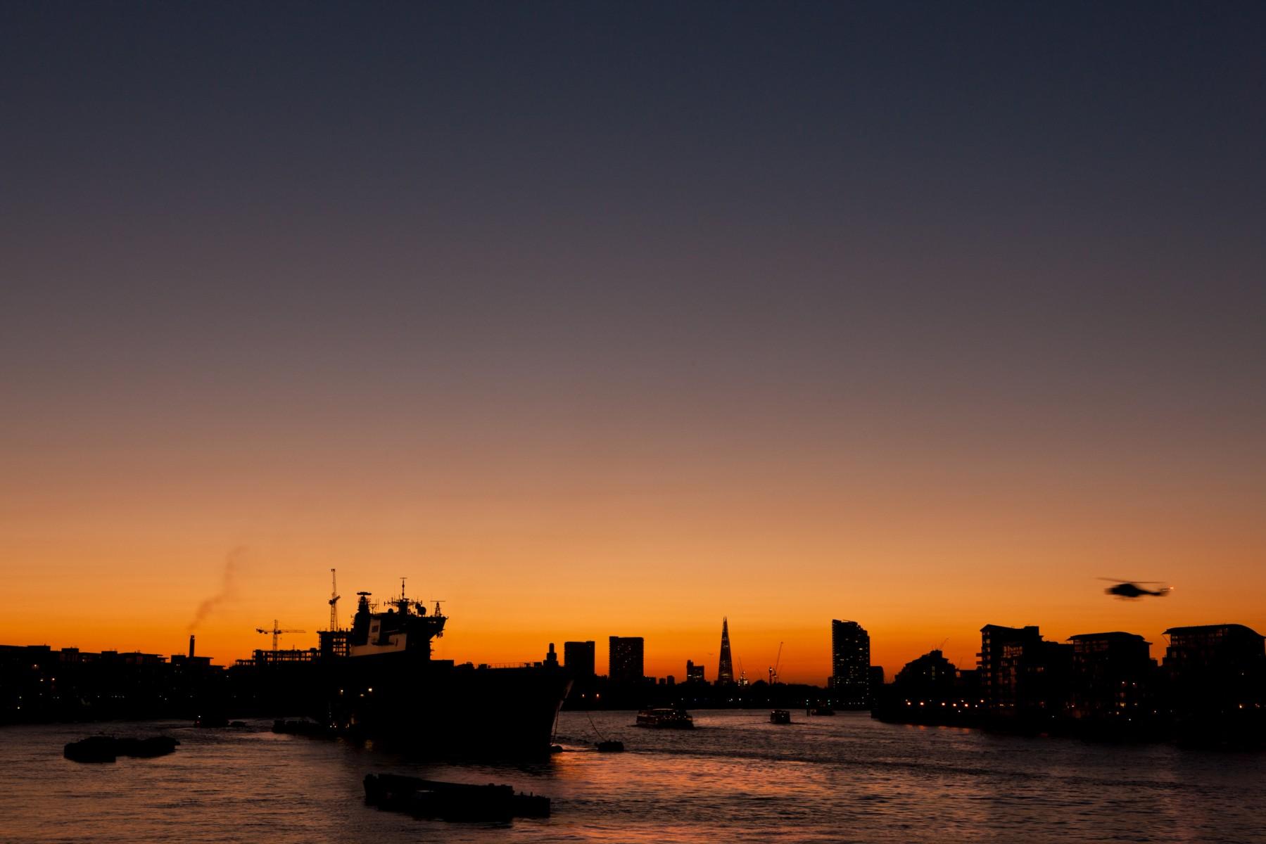HMS Ocean moored on the Thames near Greenwich