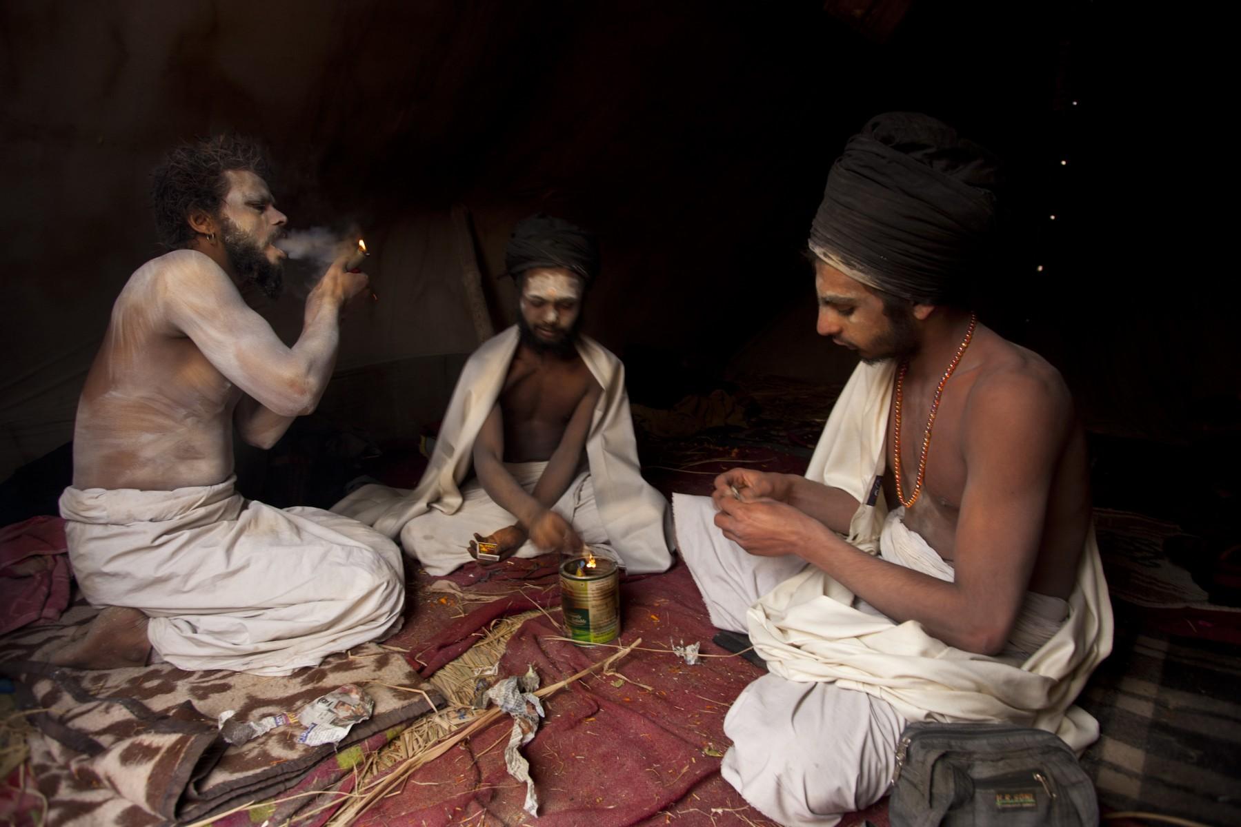 Parkash Muni smokes a chilum