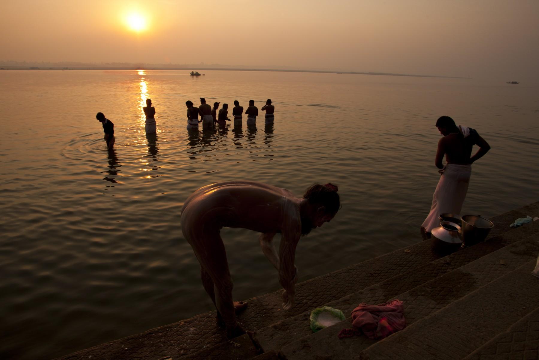 Bathing at sunrise