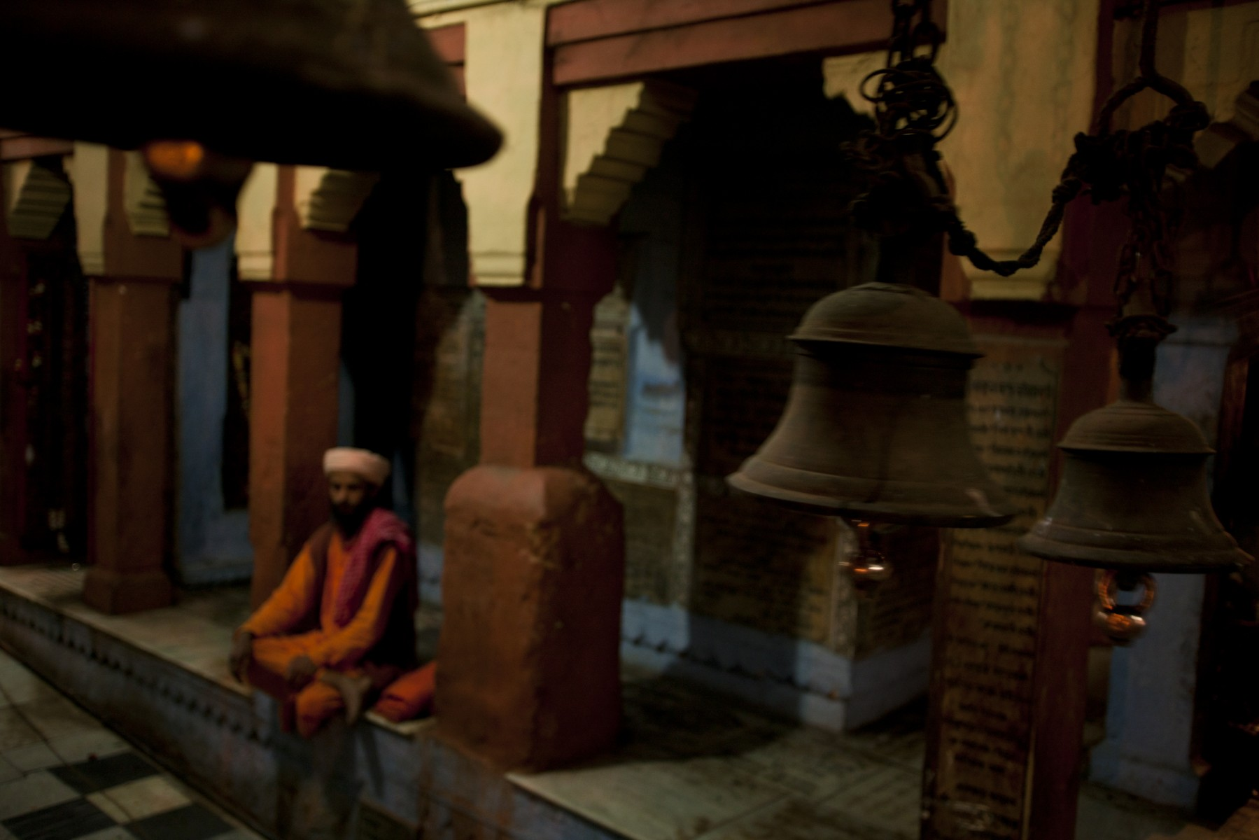 Pilgrim sitting in a temple Varanasi