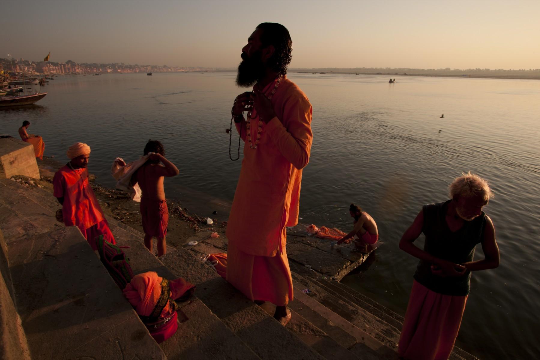 Pilgrims on Hanuman Ghat Varanasi