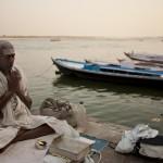 A pilgrim meditates Varanasi