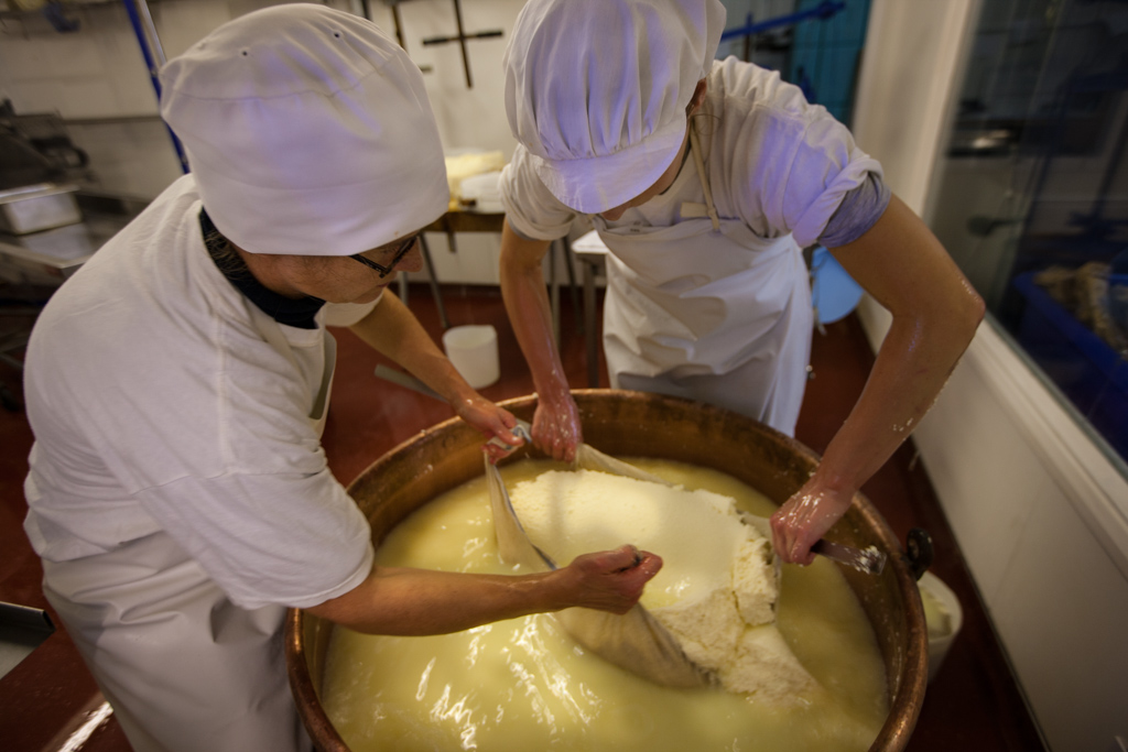 The curds are then gathered up in a muslin cloth