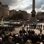 The annual national Trafalgar Day parade in Trafalgar Square