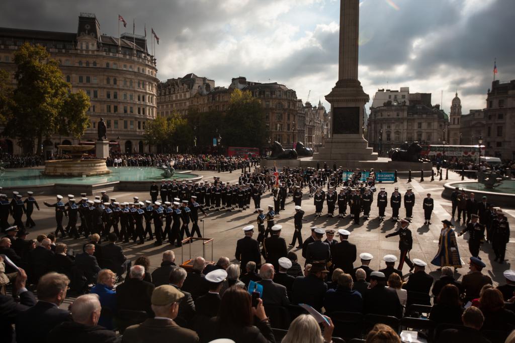 The annual national Trafalgar Day parade in Trafalgar Square