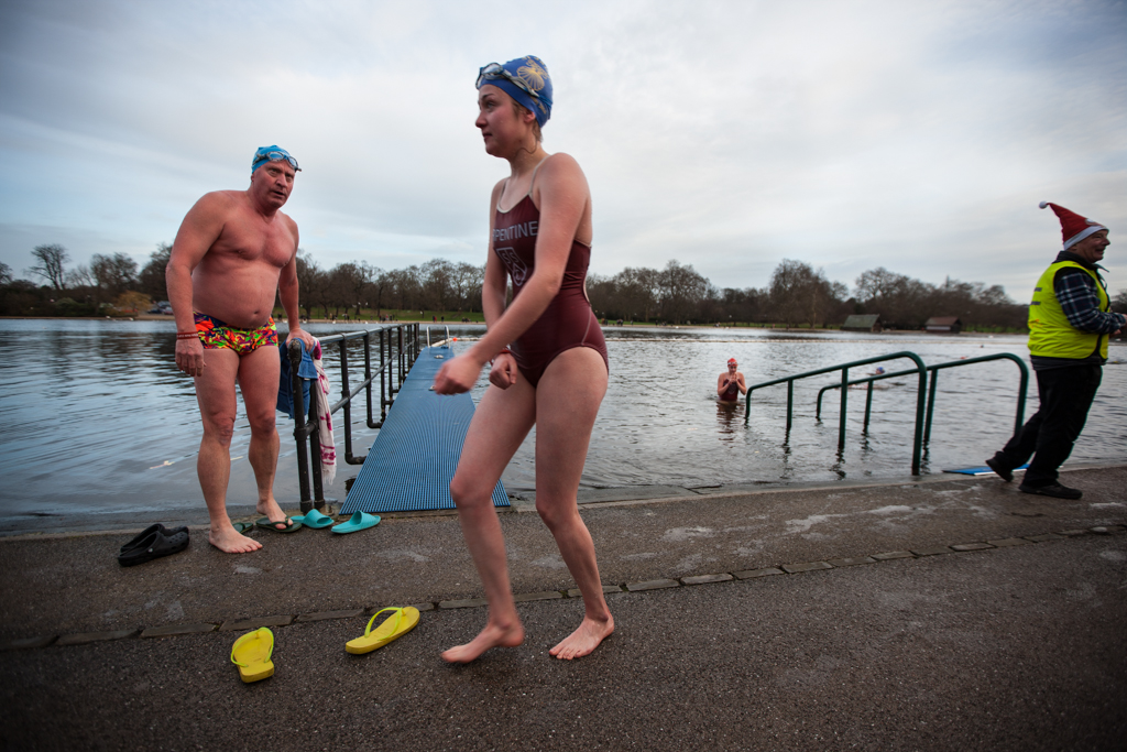 Swimmers from the Serpentine Club in Hyde Park after their paticipation in the annual Christmas morning race for the Peter Pan cup