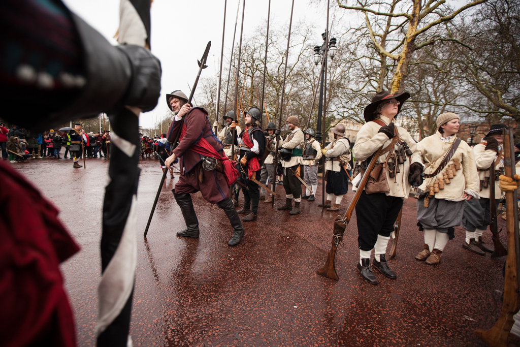 Sir Thomas Tyldesley's Regiment of Foote assemble on the Mall before marching to Horse Guards Parade to commemorate the execution of King Charles I